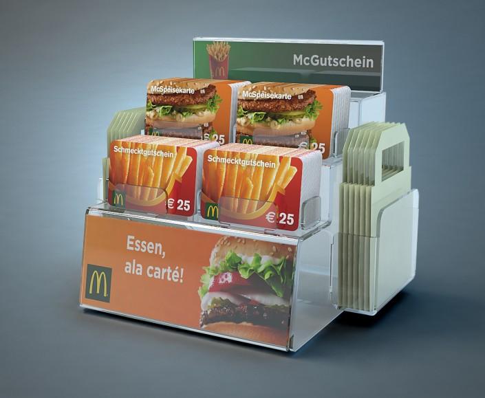 Gutscheinkarten Ständer McDonalds Display POS für Kassa von VARIUSCARD
