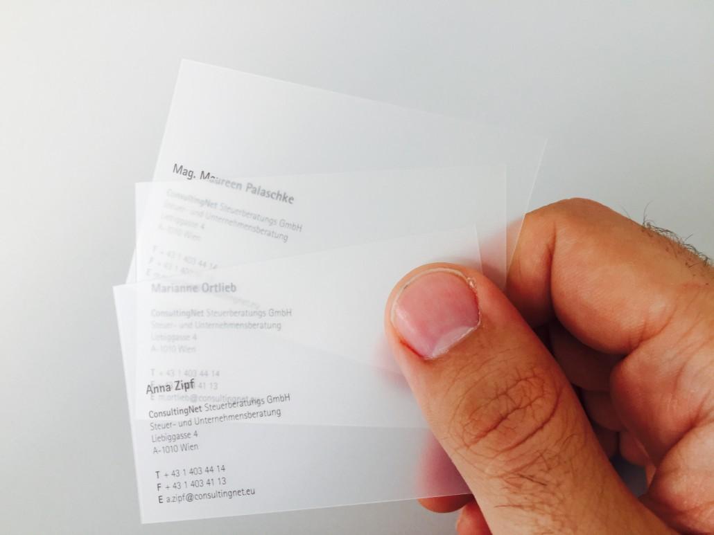 Frosted Visitenkarten Plastikkarten Druck Variuscard