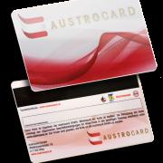 Magnetstreifenkarte mit Golddruck und Unterschriftenfeld Austrocard, magnetic stripe cards with signature panel and gold print
