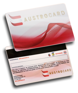 Magnetstreifenkarte mit Golddruck und Unterschriftenfeld Austrocard, magnetic stripe cards with signature panel and gold print