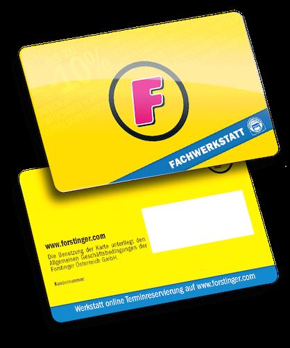 Forstinger Business Card 2018 schwarz mit Unterschriftenfeld produziert von Variuscard