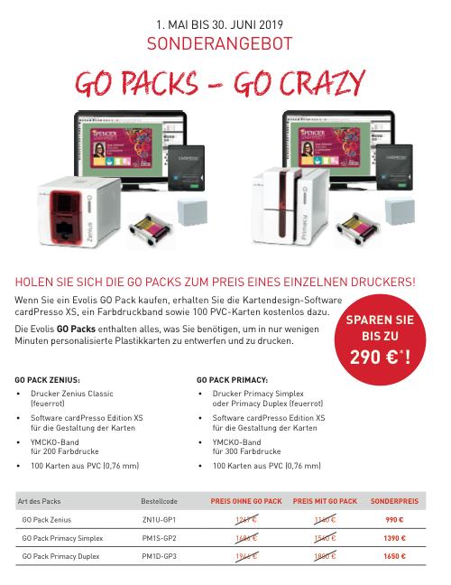 Evolis Kartendrucker SET Aktion mit Plastikkarten, Farbband und Software